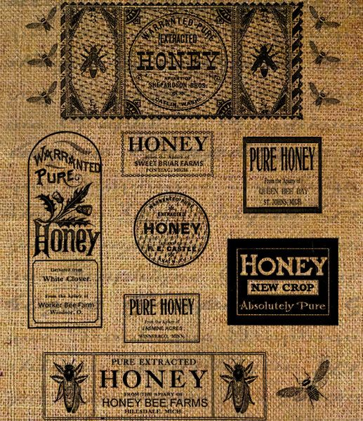for use in sign making. . .: Adverti Beekeeping, Teas Towels, Honey Bees Decor, Bees Digital, Bees Bags, Queen Bees, Vintage Teas, Vintage Honey, Beekeeping Queen