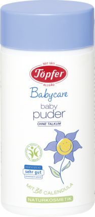 Das Töpfer Baby-Puder ohne Talkum wird nach dem Waschen auf die trockene Haut aufgetragen. Die naturkosmetische Rezeptur mit Bio Weizenkleie und Bio Calend...