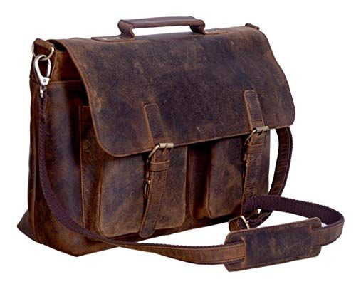 KomalC 15 Inch Retro Buffalo Hunter Leather Laptop Messenger Bag Office  Briefcase College Bag 4c945307a84b4