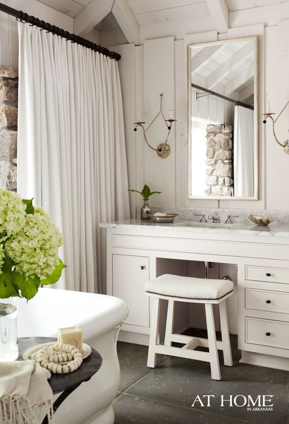 greige: interior design ideas and inspiration for the transitional home by christina fluegge: Bathroom Design, Bathroom Inspiration, Vanities, Bathroom Ideas, White Bathroom, Shower Curtains, Sconce, House, Cottages Bathroom
