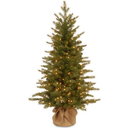 National Tree Pre-Lit 4' Feel-Real Nordic Spruce Small Artificial Christmas Tree in Burlap with 200 Clear Lights, Green