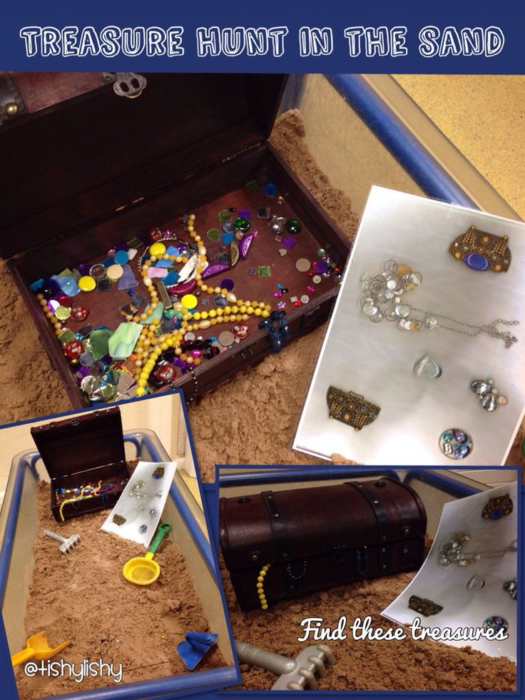 Treasure hunt in the sand tray