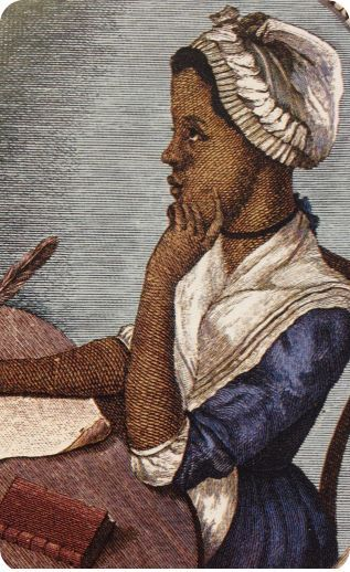 """Phillis Wheatley - Americas - 1773: Wheatley was the first black woman to publish a book. Born in Senegambia, she was sold into slavery at the age of 7 and transported to North America. She was purchased by a family who taught her to read and write and encouraged her poetry. The publication of her """"Poems on Various Subjects, Religious and Moral"""" brought her fame in both England and the American Colonies. #womens #history #medieval era #black #women #authors"""