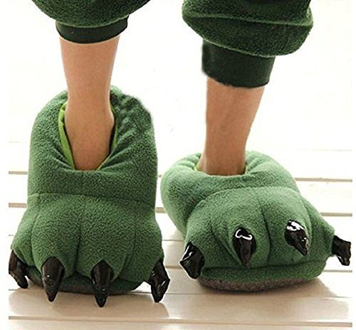 Thicken Warm Winter Slippers Dinosaur Claws Slippers Novelty Feet Costume for Men (US 8-12, Green). Import,made in polyester. Green dinosaur hooks slippers. Size medium fits a ladies' shoes estimate 5 to 9. Size extensive fits a men's shoes measure 8 to 12. Warmth and great performance,for the season: Spring, Summer., best offer