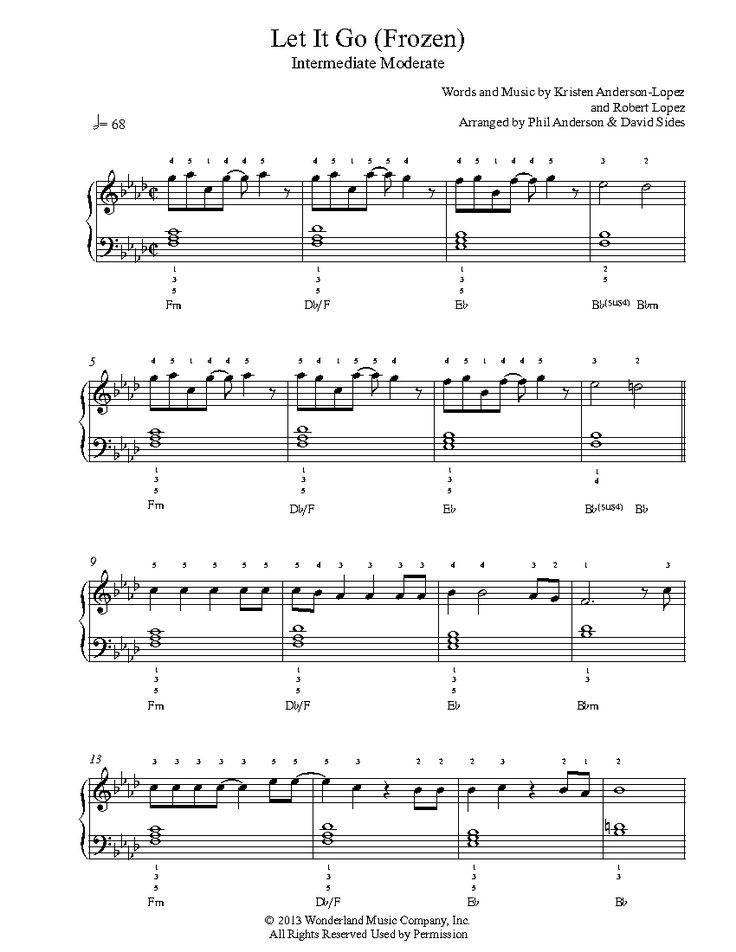 Let It Go by Frozen Piano Sheet Music   Intermediate Level