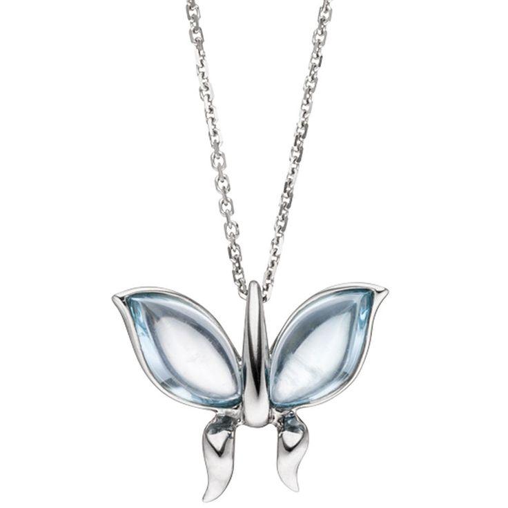 NEU Halskette Edelstein Collier Schmetterling hellblau echt Weißgold 585 14K