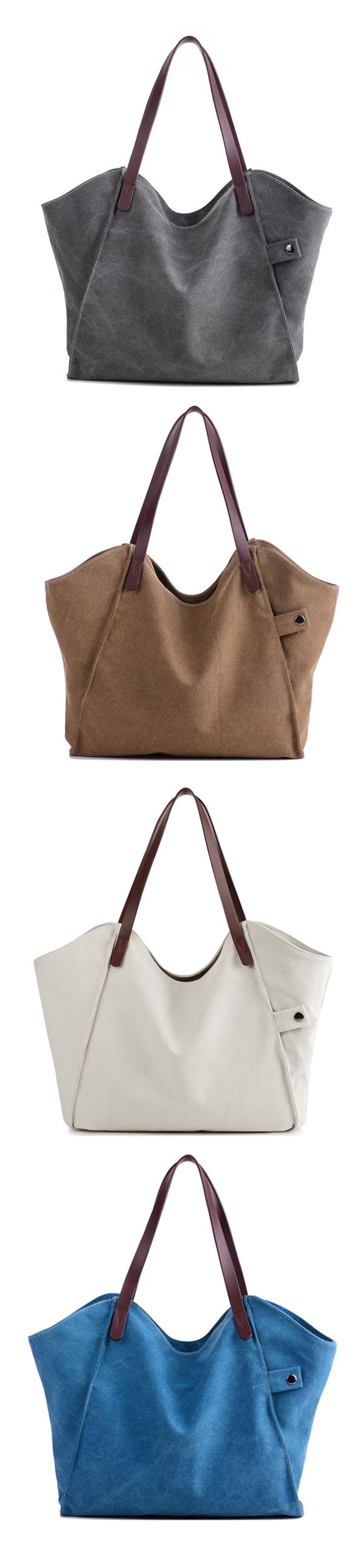 US$18.89 Casual Durable Thicker Canvas Handbag Light Casual Large Capacity Shoulder Bag For Women