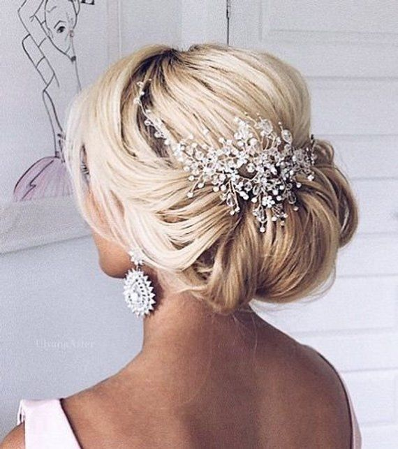 rose gold pearls head piece crystal hair comb hair piece bridal hair piece Crystal hair vine