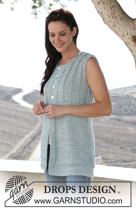 "DROPS sleeveless top in ""Alpaca"" and ""Cotton Viscose"" with cables. Size S – XXXL"