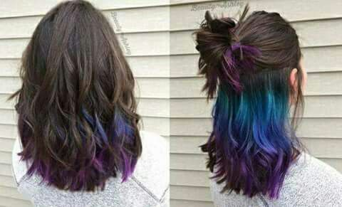 Cabello con color #Verde #azul #morado #negro #green #blue #purple #black