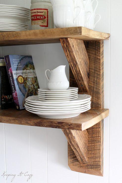 Tablettes en bois r cup r bois pinterest rustique for Tablette bois cuisine