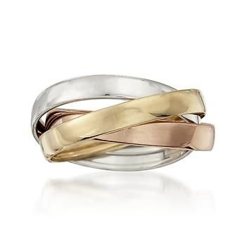 14kt Tri-Color Gold Rolling Ring (knock off)