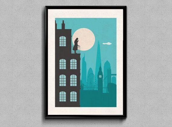 The Inspector, London Sherlock Holmes inspired Print, Sherlock Holmes wall art poster vintage style print, home decor gift art prints