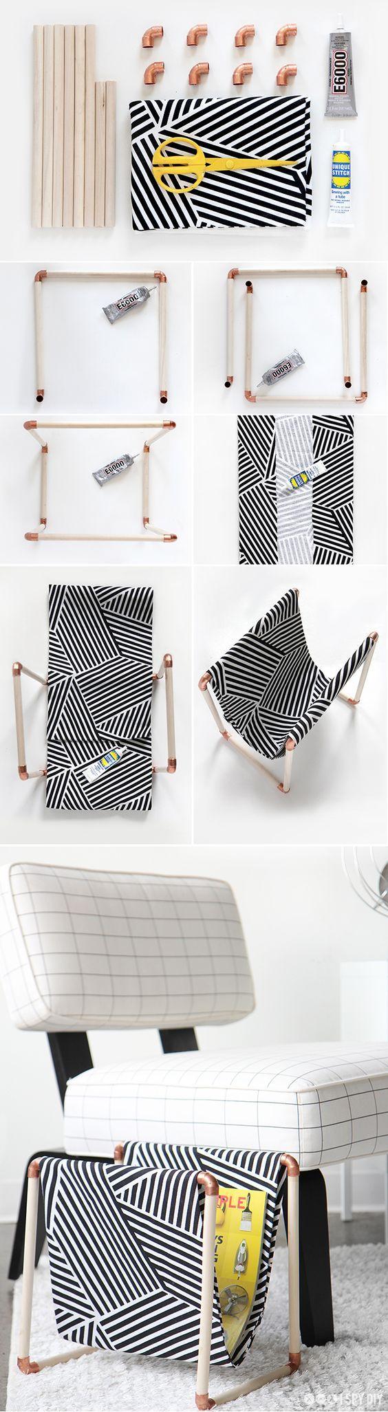 Os revisteiros dão um charme a mais para a sala de estar. Para criar um modelo personalizado você precisa apenas de canos e tecido. Super prático, né? @verouste