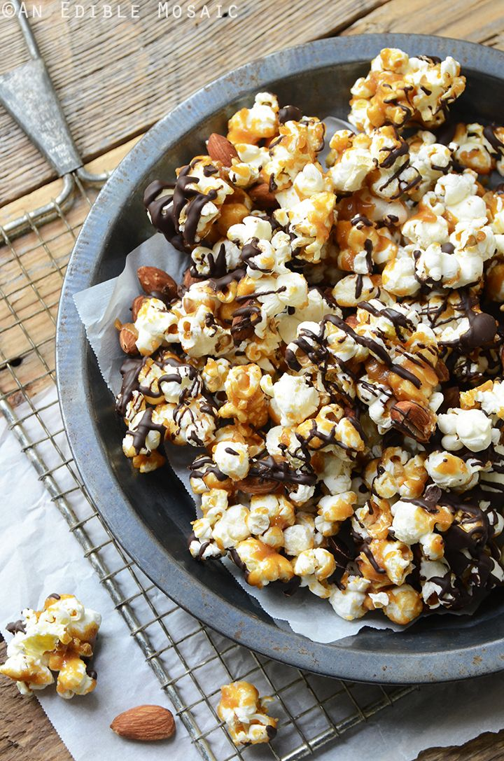 Salted Butter Toffee Popcorn with Dark Chocolate and Toasted Almonds Recipe