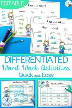 Sight word activities that are editable mean that you can individualise your sight word program.