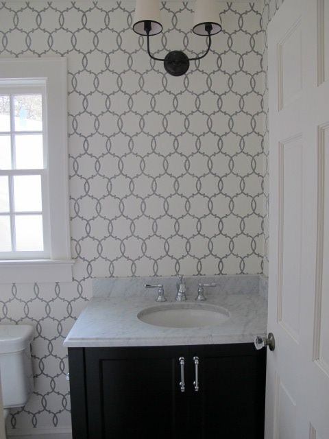 Spectacular Powder Room With Schumacher Modern Nature Collection Tracery Charcoal Wallpaper