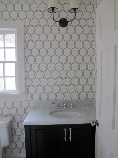 black & white wallpaper, bathroom: Renovation Bathrooms, Wallpaper Powder Rooms, Decorating Bathrooms, Bathroom Black, Bathroom Wallpaper, Bathroom Materials, White Bathrooms, Bathroom Makeover, Kitchen Bathroom Ideas