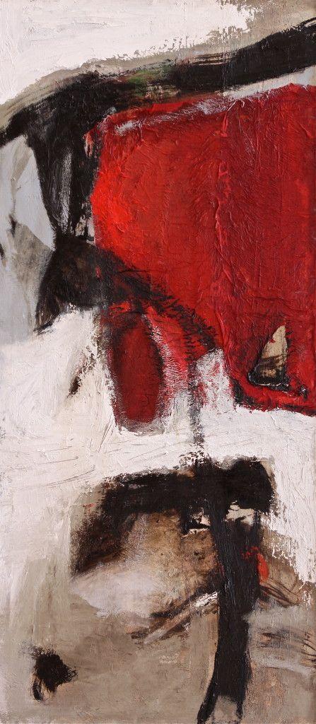 Tracce rosse - 2014 - olio su tela - cm 90 x 40