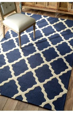 Rugs USA Homespun Moroccan Trellis Navy Blue Rug. Would love this for the bedroom but it may not be needed