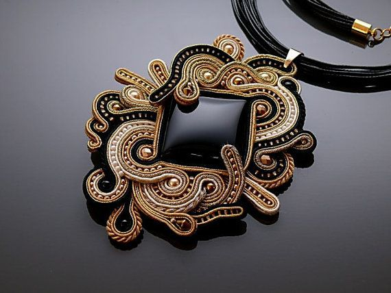 Black and gold Soutache necklace with Onyx . от ANBijou на Etsy