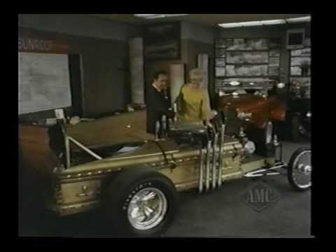 Pat Priest (Marilyn Munster) visits George Barris' custom car shop in Hollywood.