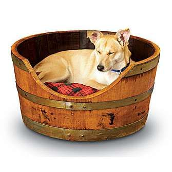 Wine Barrel Creations - Doggy BedDogs Beds, Ideas, Pets Beds, Wine Barrels, Pet Beds, Dog Beds, Barrels Pets, Barrels Beds, Barrels Dogs
