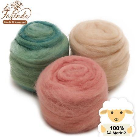 Mechas de lã Merino com tingimento natural para trabalhos de fiação manual em fuso ou roca e também para feltragem com água ou agulhas, Lã Para Feltragem