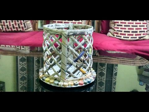 How to make a newspaper basket (ROUND) - YouTube