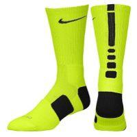 Nike Elite Basketball Crew Sock - Men's - Light Green / Black