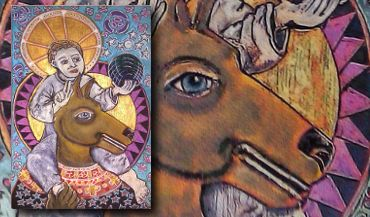 Saint Christopher Cynocephalus Icon Art by Amy Adams   #handpainted #icons #woodicons #saints #saintchristopher #artforsale #cynocephalus #dogheaded #dogheadedsaint #jesus #boyjesus