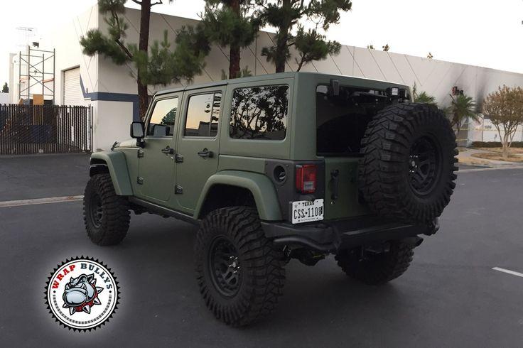 Matte green army jeep wrap