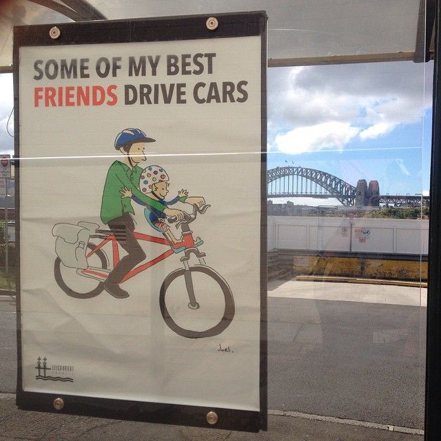 New poster at  Balmain East Wharf bus stop. I have been working with Leichhardt council. I feel very proud they used my art and copy. @Leichhardt @bike @joeltarling @art @illustration @leichhardtcouncil