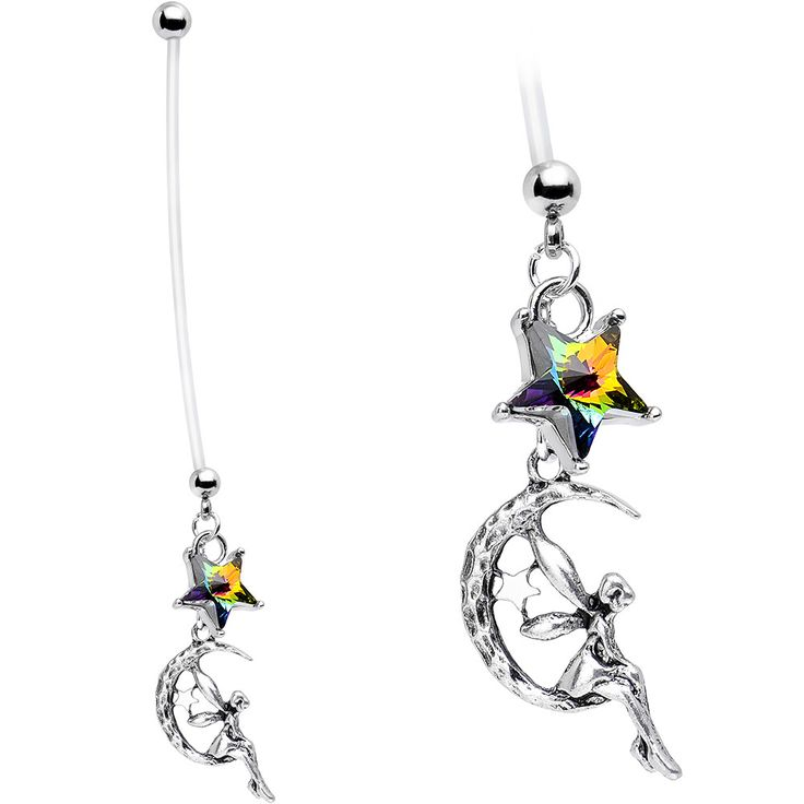 Handcrafted Fairy Pregnancy Belly Ring Created with Swarovski Crystals