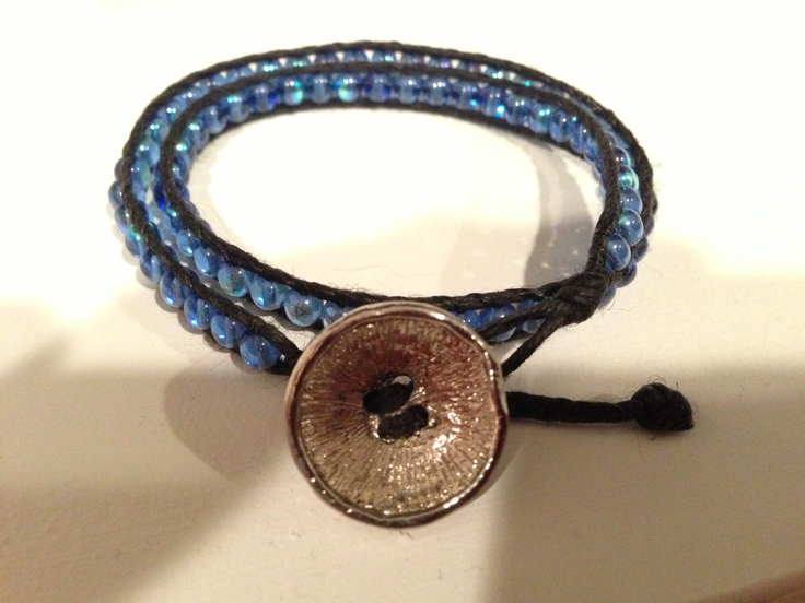 Double wrap made with black Irish linen and druk glass beads