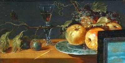 Part of the Art Collection of Prince Władysław IV Vasa (9 Jun 1595-20 May 1648) Poland. Painting of Still Life with Apples and Grapes by Osias Beert the Elder in 1624.
