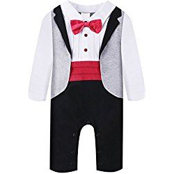 Baby Boy Romper 1pcs Toddler Outfit Clothing Set Tuxedo Jumpsuit & Bowtie Pants (70(0-6 Month), Red)