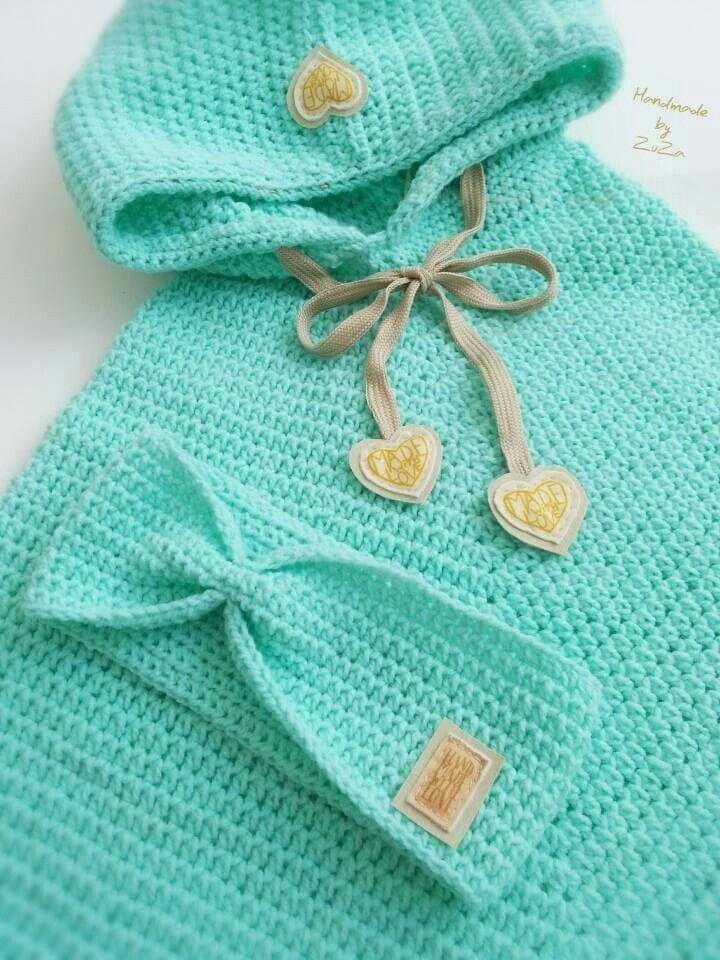 Baby girl crochet poncho set