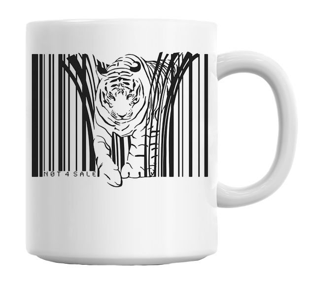 Endangered Tiger Barcode Illustration Mug