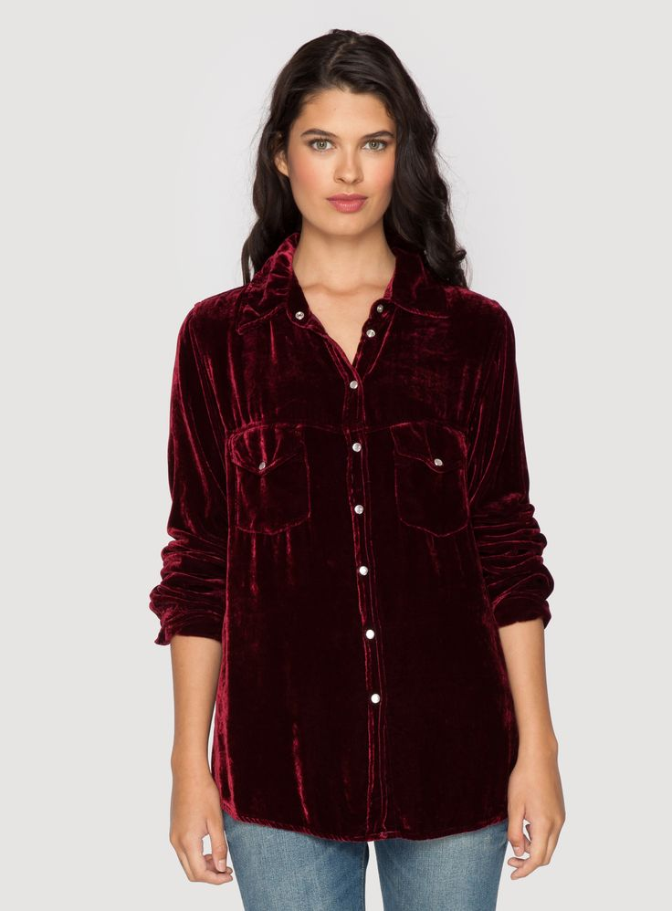 Johnny Was Clothing Pete & Greta HANNAH VELVET BUTTON DOWN Shirt in Berry Red