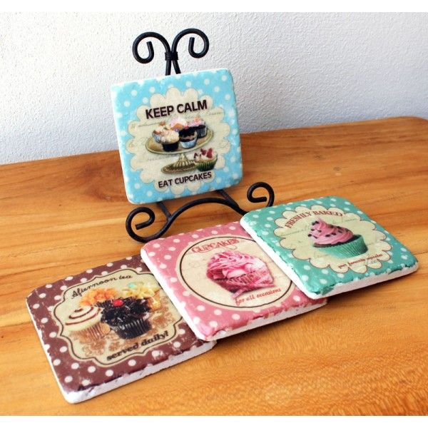 Set of 4 Cupcake Coasters & Stand - The Chic Nest