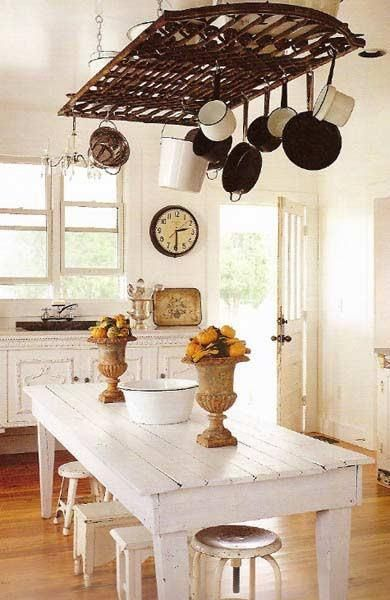 10 New Uses for Old Items • Great Ideas & Tutorials!  • Including this iron fencing turned into pot rack!...love this kitchen decor!