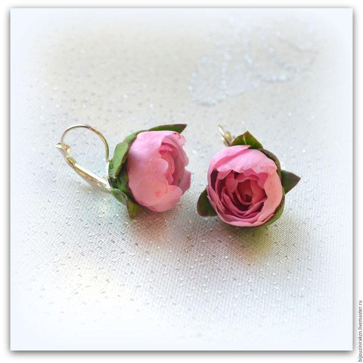 """Купить Серьги """"Розовые пионы"""" из полимерной глины. - розовый, подарок день рождения, серьги свадьба"""