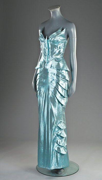 A Thierry Mugler metallic-blue evening ensemble, circa 1987-89. Looks like an ice goddess....