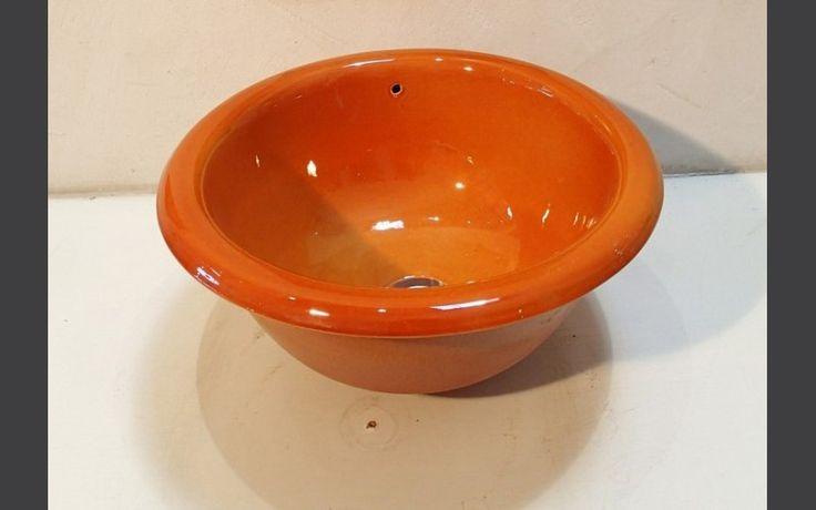 Vasque ronde à encastrer Ondine abricot diamètre 40 x h 19 cm