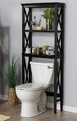 17 best ideas about shelves over toilet on pinterest bathroom shelves over toilet toilet for Black over the toilet bathroom space saver