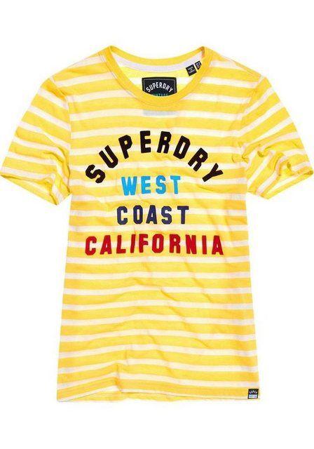 T-Shirt »WEST COAST STRIPE ENTRY TEE« mit buntem Logodruck