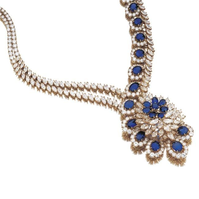 sapphire-diamond- necklace in yellow gold, gerard from 1980s.