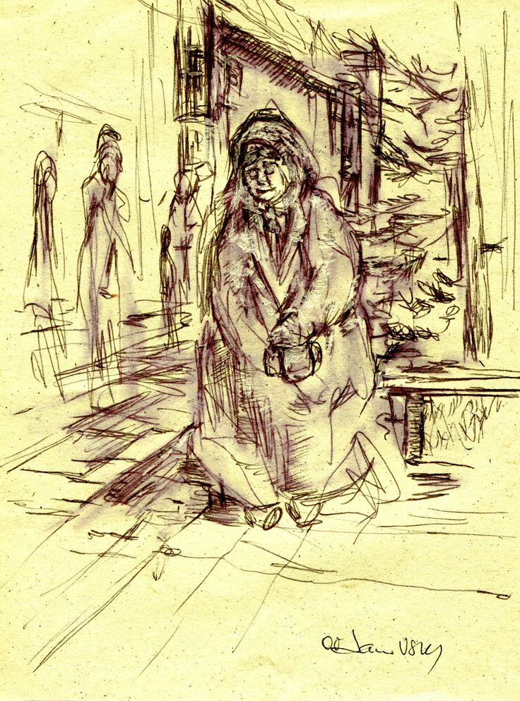an old woman asking for money near the church . sketch made in  Saint-Petersbourg