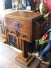 Caja de costura de madera antiguo vintage en soporte con cajones Gabinete De Mesa Lateral